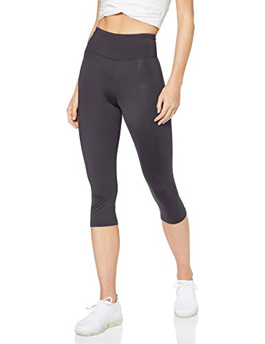 Amazon-Marke: AURIQUE Damen Capri-Sportleggings mit hohem Bund, Grau (Periscope), 34, Label:XS