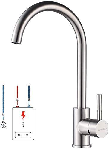 Lonheo Niederdruck Wasserhahn Küche Armatur aus Edelstahl, 360° Schwenkbar Küche Mischbatterie Einhebelmischer für Kaltwasser und einen Wasserboiler konzipiert, Chrom