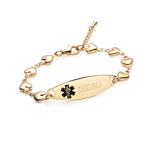 linnalove Gold Heart Medical Alert Bracelet for Women-Epilepsy/SEIZURES Bracelet