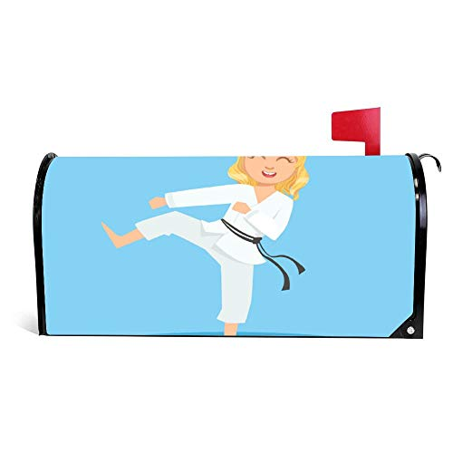 Wendana Meisje In Wit Kimono Doen Been Sidekick Op Karate Mailbox Cover Magnetische Vinyl Thuis Tuin Decor Mailbox Wrap Post Letter Box Cover 18