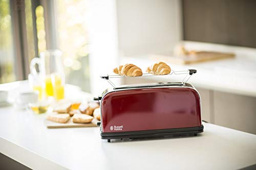 Russell Hobbs 21391-56 Toaster Grille-Pain Colours, Fente Large Spécial Baguette, 6 Niveaux de Brunissage, Décongèle, Réchauffe - Rouge