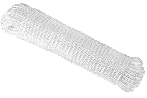 1 ALAZCO 80 ft. Extra Strong Diamond Braid Polypropylene Multi-Purpose Flag Line Rope - Weather Resistant Shock Absorbent Heavy Duty Poly 1/4'' Thick (1 Rope Only)