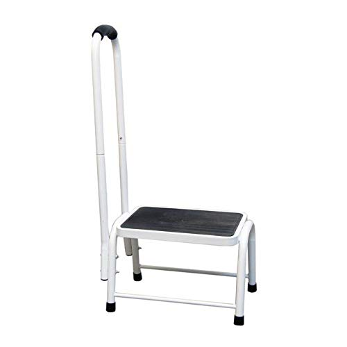 Safety Step Stool | Step Stool with a Handrail for Support | Lightweight and Portable, Steady and Stable | Includes a Non-Slip Step Surface | Platform size: L26xW38xH28cm Handrail Height: 89cm | Easylife Lifestyle Solutions