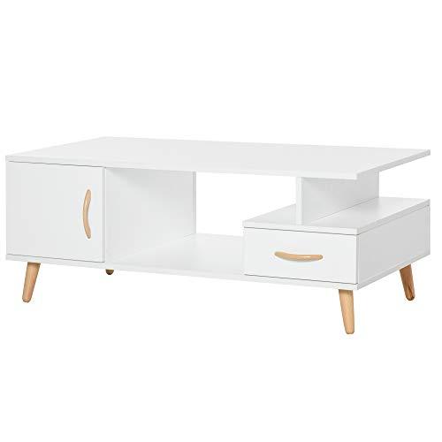 homcom Tavolino da Salotto Moderno con Anta e Cassetto, Mobile Basso per Soggiorno e Ufficio Bianco, 100x50x40cm