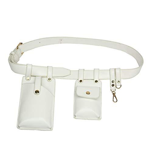 LDCXQYNB Hip Hop Bums Bags Pack Street Fashion Bolsa de Pecho Funcional Deportes Running Bolsa de Cintura,Blanco