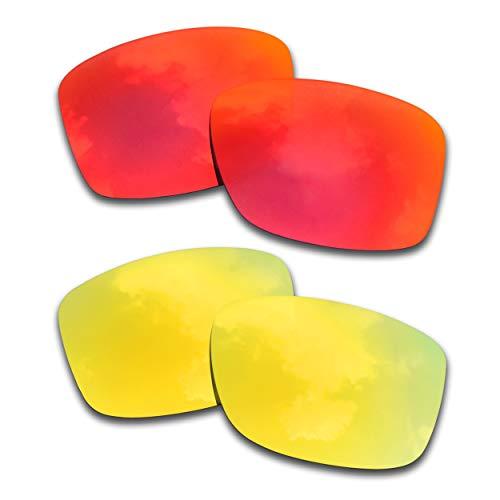SOODASE Para Oakley Jupiter Squared Gafas de sol Rojo/Plata 2 Pares Lentes de repuesto polarizadas