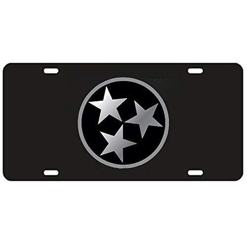 Fhdang Decor Tennessee Volunteers Black Tri-Star License Plate Aluminum License Plate, Front License Plate, Vanity Tag 4 Holes Auto Tag Car Accessories 6' X 12'
