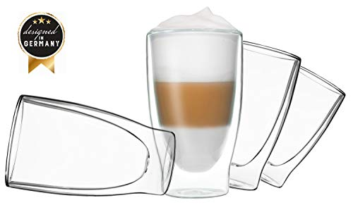 DUOS 4X 400ml doppelwandige Gläser Cocktail Thermogläser - Set mit Schwebe-Effekt, auch für Latte Macchiato, Cappuchino, Tee, Eistee, Säfte, Wasser, Cola, Cocktails geeignet, by Feelino …