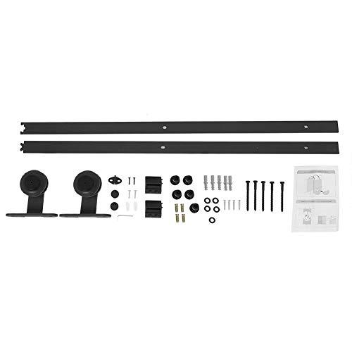 Schuifdeurrailset voor houten deuren, eenvoudig te installeren voor houten deuren, 6 ft montage boven op zwart