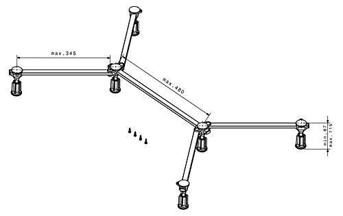 poresta Ferroplast Duschwannenfuß D6 Mini XL Wannenfüße 75-120 cm für Stahl Acryl Duschwanne superflach