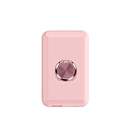 Banco de EnergíA InaláMbrico MagnéTico 5000Mah con Soporte para Anillo de Dedo para Iphone 12/12 Pro / 12 Pro Max / 12 Mini Cargador Qi PortáTil 18W Carga RáPida (Rosado)