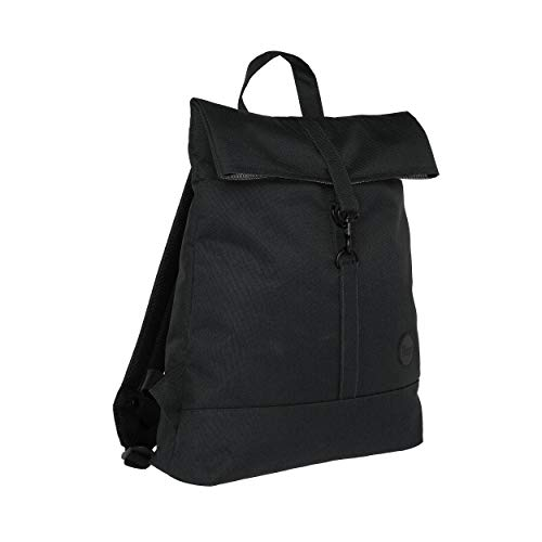 Enter City Fold Top Backpack, Black Recycled