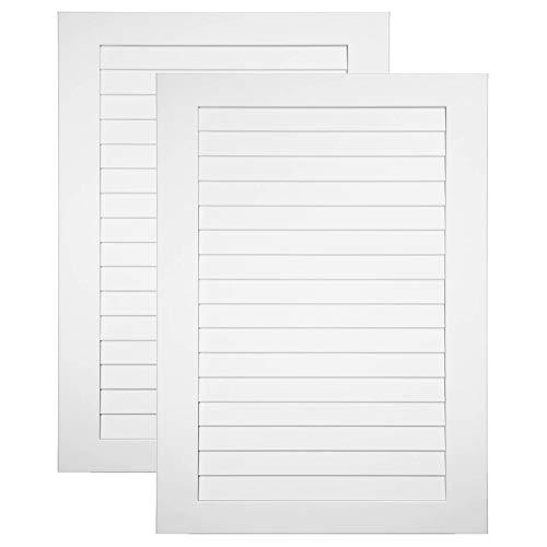 2-er Pack Lamellentüren geschlossenen 696 x 495 x 16 mm aus MDF Holz foliert in Klassisch Weiß seidig matt - einbaufertig & massiv