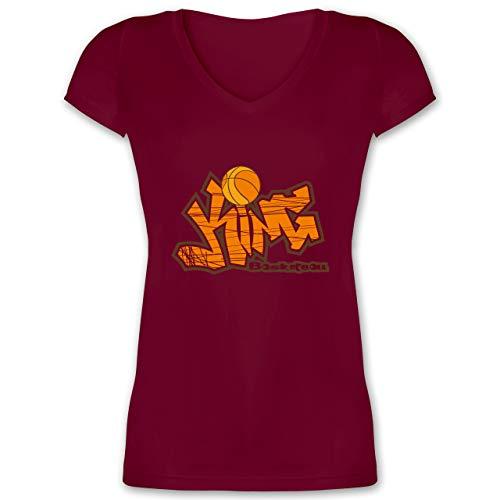 Basketball - Basketball King - 3XL - Bordeauxrot - Graffiti - XO1525 - Damen T-Shirt mit V-Ausschnitt
