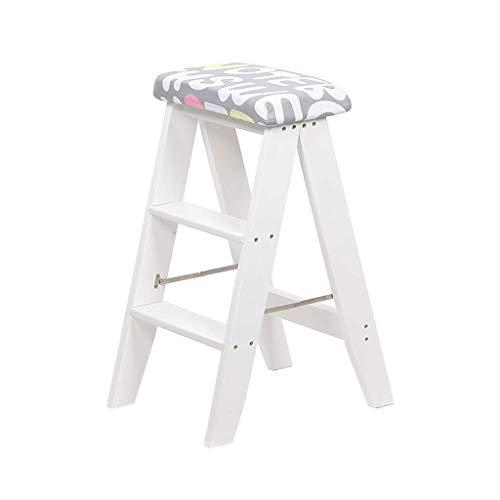 GUOXY Multifunktions-Stufenleiter Folding Walker Hocker/Stufenleiter, Holzstiege Grau Sponge Sitz Erweiterte Hocker Dining Chair Hochgartengeräte Schwer Intensive Nutzung 150 Kg,Weiß,Weiß
