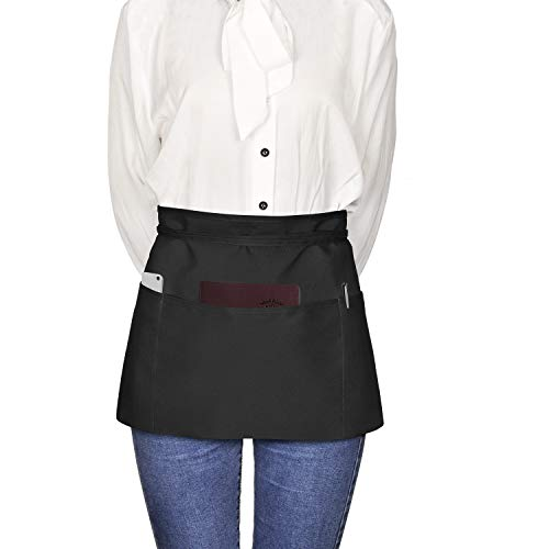 Viedouce Vorbinder Taillen Schürze, Kellnerschürze Kochschürze Backschürze mit 3 Taschen für Frauen Männer Restaurant Server Chef Kellnerin Kellner Barista, Schwarz (3 Pack)