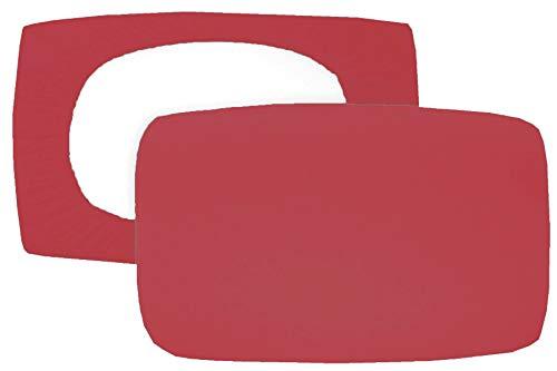 Home Edition 2er Pack Spannbezug für Nackenstützkissen Baumwolljersey (mit Elasthan) 36x50 bis 36x60 cm (Korallen-rot)