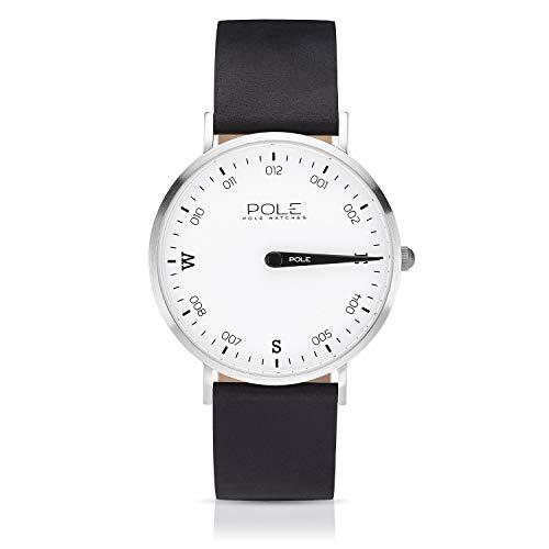 Pole Watches Herren Quarz Analoge Einzeigeruhr in Weiß und Lederarmband in Schwarz | Modell Compass Polar B-1001BL-NE07