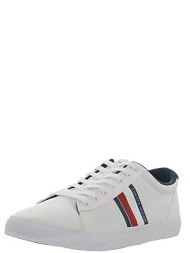 Tommy Hilfiger Essential Stripes Detail Sneaker, Zapatillas para Hombre, Blanco (White Ybs), 43 EU