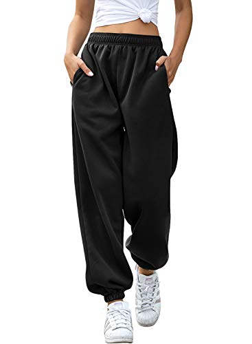Yidarton Women's High Waisted Sweatpants Joggers Pants Drawstring Yoga Workout Lounge Pants with Pockets (Small, Z-Thick Black)