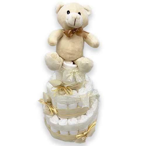 Tarta de pañales DODOT UNISEX - Regalo recién nacido - Incluye tarjeta DEDICATORIA personalizada (3 pisos)