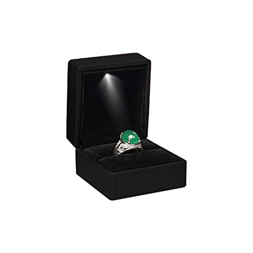 Caja de anillo LED, caja cuadrada para pendientes, joyas, cajas de regalo con luz LED para sorpresa, propuesta de compromiso, boda (negro)