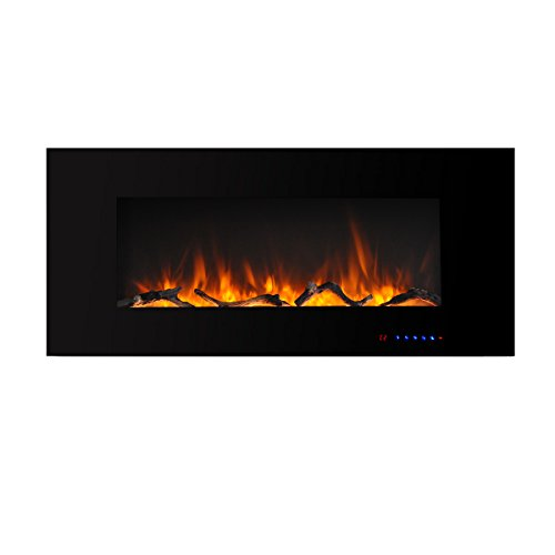 Valuxhome 42 Inches Wall Mounted Electric Fireplace with Timer, Thermostat and Touch Screen, Remote Control, Logset and Crystal, 1500W Heater, Black