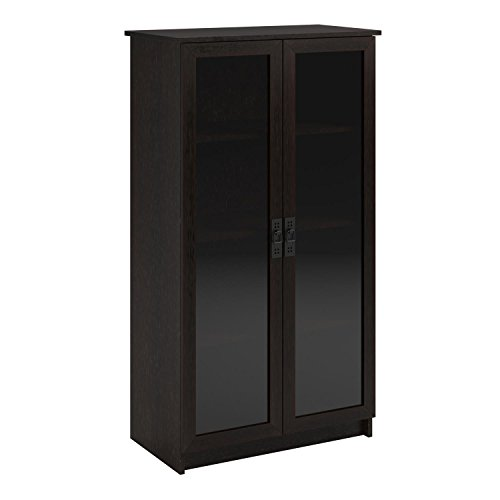 Ameriwood Home Quinton Point Glass Door Bookcase, Espresso