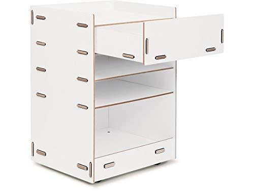 Modulor Rollcontainer aus farbig beschichtetem MDF, Schreibtisch Rollschrank (BxHxT: 44,5 x 58,0 x 34,0 cm) mit Einer Schublade und DREI Fächern, weiß