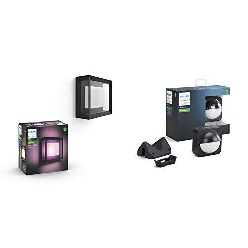 Philips Hue Econic Aplique LED inteligente exterior, Luz de blanca y de colores, Compatible con Alexa y Google Home + Sensor de Movimiento para Exterior incluido