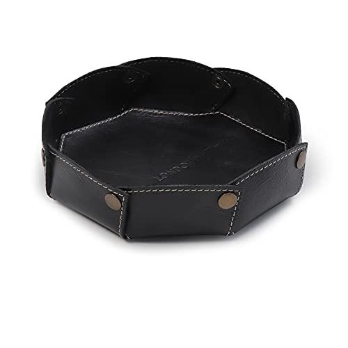 LONDO Organizador de bandejas redondas de piel auténtica - Práctica caja de almacenamiento para carteras, relojes, llaves, monedas, teléfonos móviles y material de oficina (Negro)