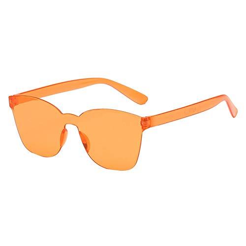 gafas de sol para mujer lente marina integradas gafas sin marco de color caramelo al aire libre unisex casual sunglasses transparentes de gelatina C
