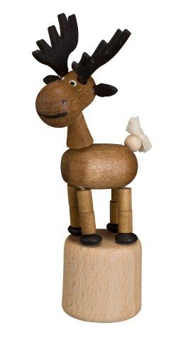 Rudolphs Schatzkiste Drücktier für Kinder - Spielzeug Wackelfigur Elch, Wackeltier aus Holz, Maße: 10 cm