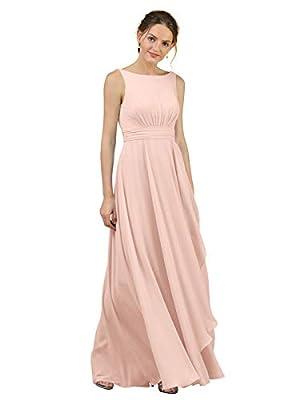 Alicepub Chiffon Blush Pink Bridesmaid Dresses for Wedding Long Formal Dress for Women Party, US4
