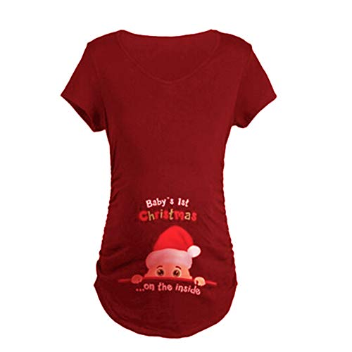 Q.KIM Witzige Schwangere Maternity Damen Umstandsmode T-Shirt (XX-Large, Stil 4-Wein rot)