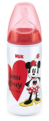 NUK First Choice+ Disney Babyflasche | 6-18Monate | Temperature Control Anzeige | 300 ml Flasche mit Anti-KoliK-Ventil | BPA-frei | Trinksauger aus Silikon | Minnie Mouse (rot)