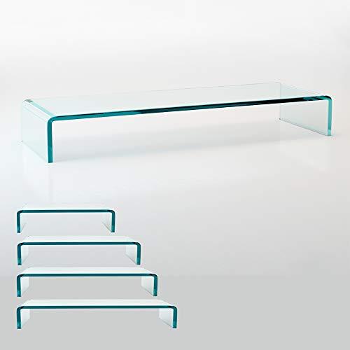 bijon TV Aufsatz Glas Bildschirm-Erhöhung   PC Monitor-Erhöhung, Schreibtisch-Aufsatz für Laptop...
