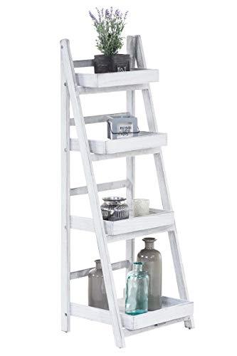 Estantería Escalera Dorin con 4 Estantes I Estantería Plegable en Estilo Rústico I Estantería Decorativa de Madera I Color:, Color:Blanco Envejecido