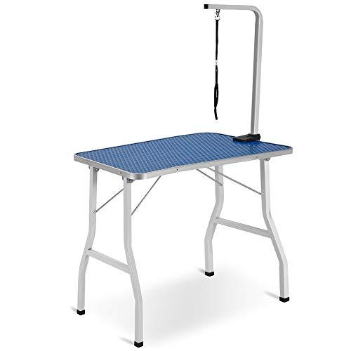 Belupai - Tavolo da toelettatura per cani regolabile e portatile, in acciaio inox, con bordo in alluminio, 90 x 60 x 76 cm (larghezza x profondità x altezza).