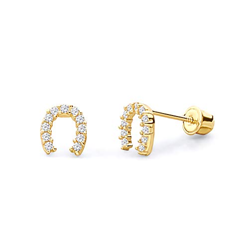 14k Yellow Gold Horse Shoe Stud Earrings with Screw Back