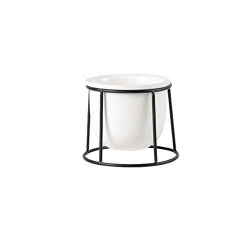 SONGDA Nordische sukkulente Keramik-Blumentöpfe, Eisenpflanzenstände, einfache und stilvolle Anzüge, geeignet für Schreibtische, Balkone, Wohnzimmer, Esszimmer,Small