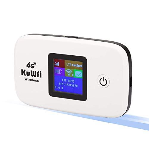 KuWFi Router 4G, Router para Tarjeta SIM Desbloqueado 150Mbps 4G WiFi Router de Viaje Router de Viaje LTE Mobile WiFi Hotspot Soporte 4G Update B1/B3/B7/B8/B20 hasta 10 usuarios de WiFi