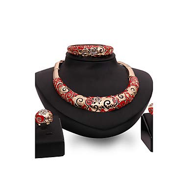 Schmuck Set Statement Damen personalisierte Vintage Fashion Resin Rhinstone Rose Gold Platte Ohrringe Gold für Hochzeit Party Besondere Anlass Glückwunsch, Gold