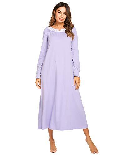 Nachthemd Damen Langarm Schlafkleid Einteiliger Schlafanzug Nachtkleid Retro-Stil Kleid Warme Sleepshirt Pyjama aus Baumwolle für Frauen Schwangere Oma Violett XL