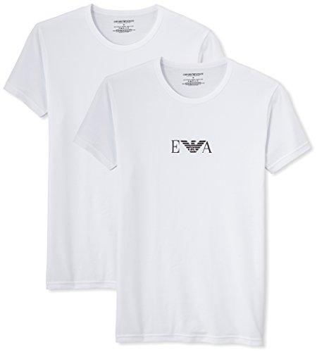 Emporio Armani Underwear Herren 111267CC715 Schlafanzugoberteil, Weiß (BIANCO/BIANCO 04710), Small (2er Pack)