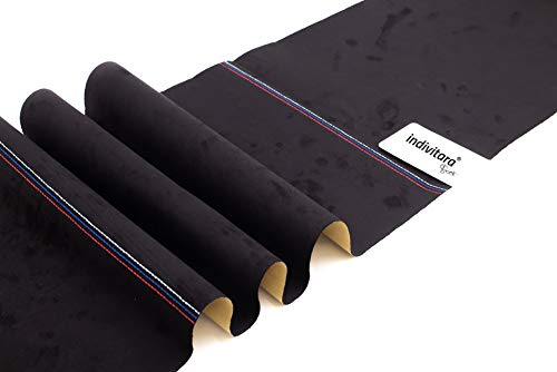 indivitara Stitch Black Stripe M selbstklebender Mikrofaserstoff (ähnlich Alcantara) mit echten Nähten Wildleder Optik Microfaser Stoff Stretch Folie