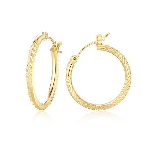9ct Gold Hoop Earrings For Women | PAKSHO Shine Hoops Earring Gift for Mom