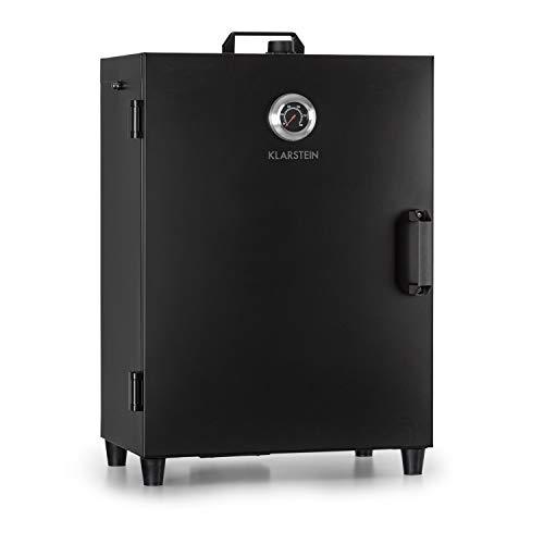 Klarstein Flintstone Steel - horno para ahumar, Ahumador, Acero inoxidable negro, 1600 W, Termostato regulable, Termómetro integrado, 3 parrillas, Doble puerta de acero inoxidable, Negro