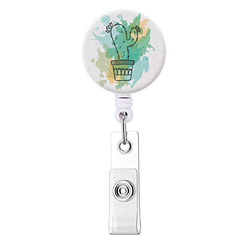 Badge Reel, Retractable ID Card Badge Holder with Alligator Clip, Name Nurse Decorative Badge Reel Clip on Card Holders - Cute Green Cactus
