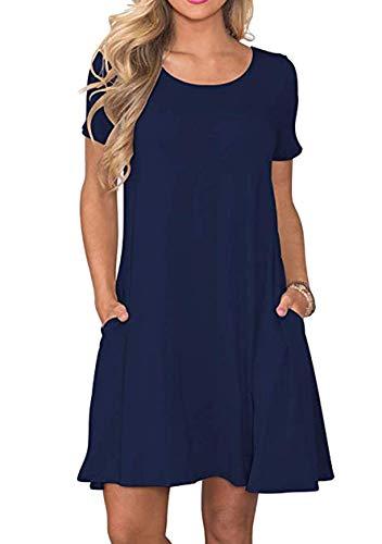 OMZIN Damen Freizeitkleider Basic Slim Fit Sommerkleid Vintage Kurzarm Sommerkleider Navy Blau L